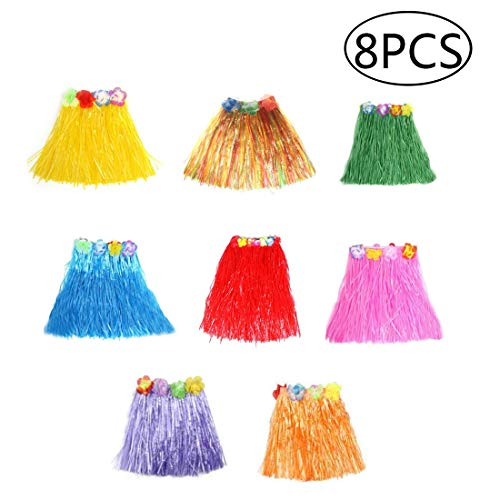 Hawaiian Skirt Home Dance Bonfire Dress Party Decorations Elastic Hula Dancer Grass Skirt for Kids - -