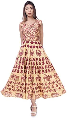 Monique Women's Cotton Fit and Flare Ethnic Ankle Length Anarkali Western Traditional Dress ( Maroon , Free Size )