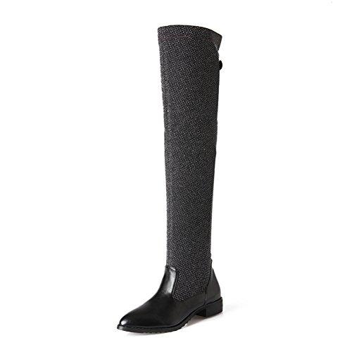 Mode Hälen Kvinna Låg Klack Spetsig Tå Handgjort Sträck Läder Ovanför Knät Boot Svart