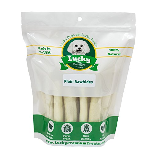 Plain Rawhide Dog Treats For Small Dogs Made In The Usa Only By Lucky Premium Treats  10 Chews