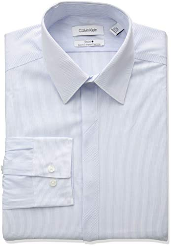- Calvin Klein Men's Dress Shirt Non Iron Slim Fit Stretch Stripe, Blue Frost, 16.5