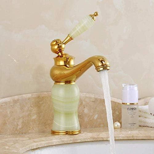 ZJN-JN 蛇口 バスルームのシンクは、ホットスロット付き浴室の洗面台のシンクホットコールドタップヨーロッパのすべての銅ゴールデンダブルビーズ玉の下でカウンター盆地大理石洗面洗面バスルームをタップし、コールドミックス蛇口 台付