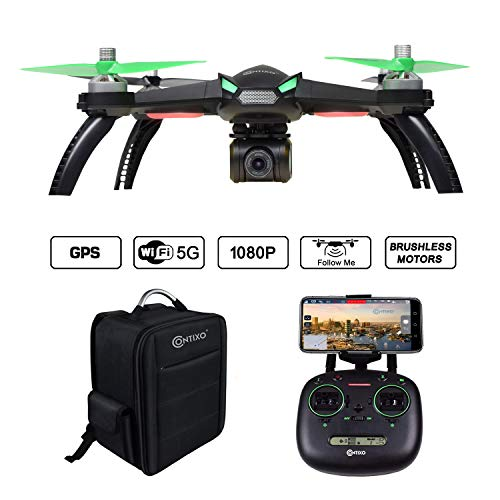 Contixo F20 RC Quadcopter Drone with GPS and 1080p HD WiFi Camera | Smartphone App Remote Control Follow Me, Auto Hover, Altitude Hold, One-Key Takeoff/Landing Brushless Motors Includes Backpack Case -