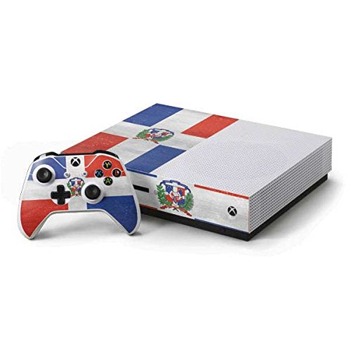 Countries of the World Xbox One S Console and Controller Bundle Skin - Dominican Republic Flag Distressed   Skinit Lifestyle (Dominican Republic Bundle)