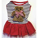 Monkey Daze Designer Dog Apparel - Teddy Bear Striped Skirt - Color: Red, Size: XS