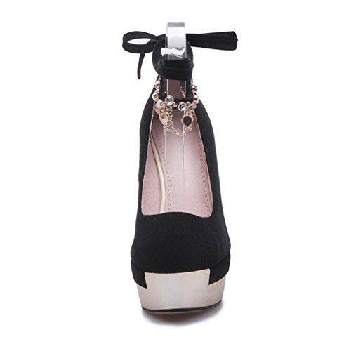 Heel Stage Shoes Bandages Shoes Frosted Nightclub Heels Shallow Black Round Mouth Thin Women's Black Super Head 10m High BwEcqZP
