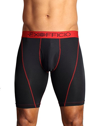 Exofficio Men's Give-N-Go Sport Mesh 9-inch Boxer Brief, Black, - Antimicrobial Briefs