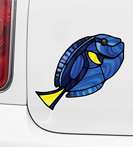 (Tropical Fish - Blue Tang - Palette Surgeonfish - Stained Glass Style - Opaque Vinyl Car Decal - Copyright Yadda-Yadda Design Co. (SIZE CHOICES) (MD 7