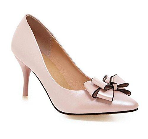 xie Pointue Doigt Faible Bouche Solides Couleurs Unique Chaussures Élégant Vent Doux Mince avec des Talons Hauts Chaussures Tribunal, Pink, 40