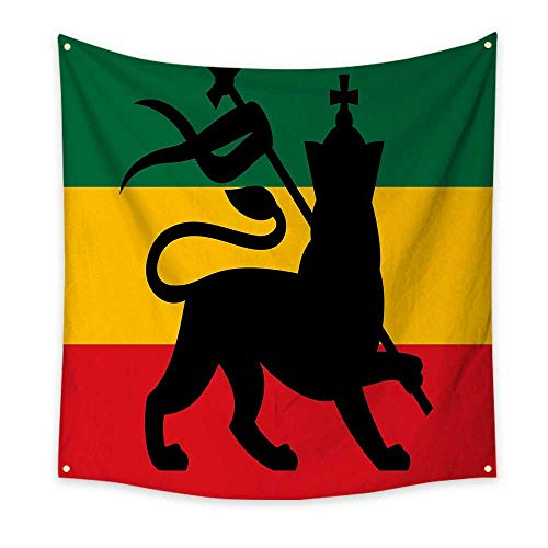 Lion Mountain Gorgeous Gifts (J Chief Sky Rasta Pattern Tapestry Rastafarian Flag with Judah Lion on Reggae Music Inspired Decor Image Gorgeous Tapestry 47W x 47L InchBlack Red Green and Yellow)