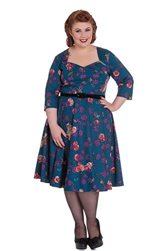 Hell-Bunny-Magical-Woodland-Floral-Owl-Bird-Print-Teal-Blue-Belted-Swing-Dress