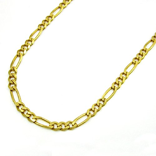 14K Yellow Gold Men Women's 2MM Classic Figaro Chain Lobster Clasp, 16 to 22 Inches by Jawa Fashion