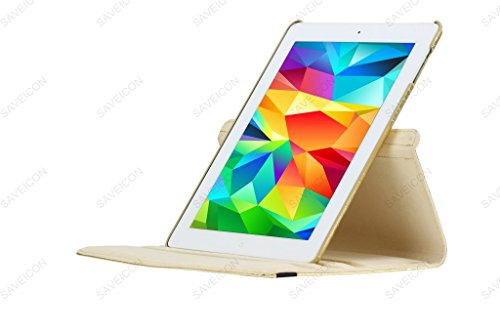 SAVEICON (TM) 360 Degrees Rotating Crocodile Skin PU Leather Case Smart Cover with Stand and Sleep/Wake Function for Apple iPad 4 with Retina Display, iPad 3, iPad 2 (Gold) Photo #2