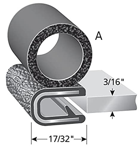 "3//8/"" Bulb Seal Diameter Trim-Lok Trim Seal with Side Bulb PVC Plastic Trim with EPDM Rubber Bulb Seal 25/' Length Fits 1//4/"" Edge"