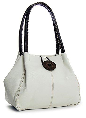 Handbag Grade Shop mujer Blanco sintético z 2 de One Big hombro PU al Bolso para 7d8nSwHq5
