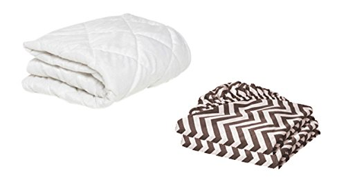 BKB Cradle Mattress Protector and 2 Chevron Sheets Combo, Plum, 18 x 36