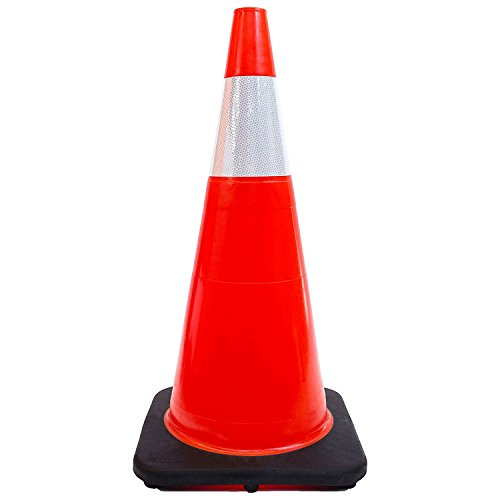 (Set of 8) 28'' RK Orange Safety Traffic PVC Cones, Black Base with One Reflective Collar by RK Safety