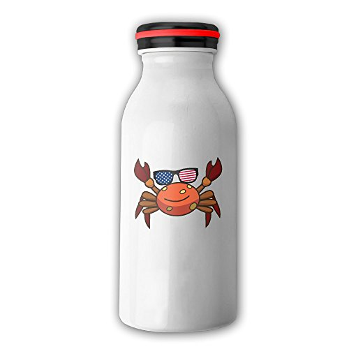 Cute Crab Sunglasses USA Flag Insulated Vacuum Milk Bottle Stainless Steel Thermos 12 Oz - Crab Sunglasses