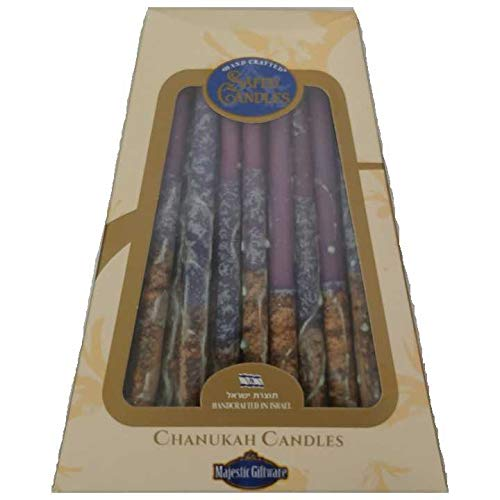 Hanukkah Candles - by Safed Candles, Handcrafted in Israel, Box of 45 - Fits Most Menorahs - Premium, Kosher, Dripless, Wax, for Chanukah (Violet)