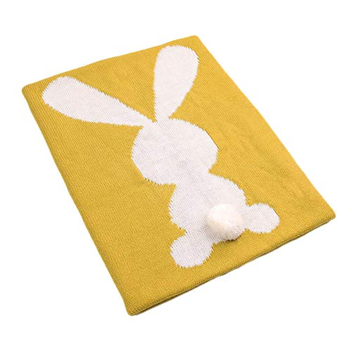 CC Shop Baby Cartoon Bunny Throw Blankets Cute Knitted Blanket Cover (Mustard Yellow)