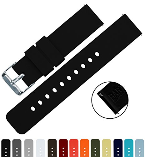 BARTON Silicone Quick Release - 24mm Width - Choice of Color - Black 24mm Watch Band Strap