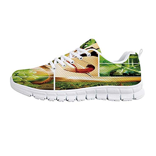 YOLIYANA Wine Fashion Gym Shoes,Wine Tasting and Grapevine Collage Green Fresh Field Pouring Drink Delicious Decorative Sneakers for Girls Womens,US Size 6