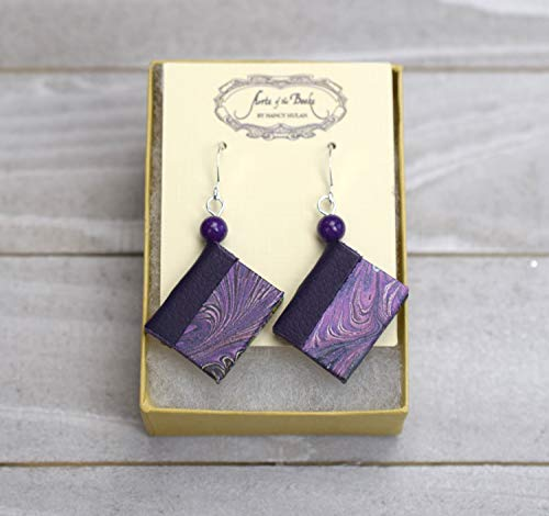 Purple Mini Book Earrings with Leather Spine -