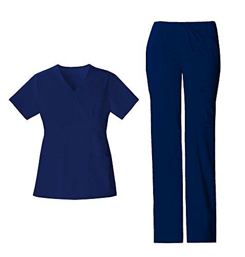 (Cherokee Luxe Women's Crossover V-Neck Pin-Tuck Top 1999 & Women's Drawstring Cargo Pant 21100 Scrub Set (Navy - Medium/Medium))
