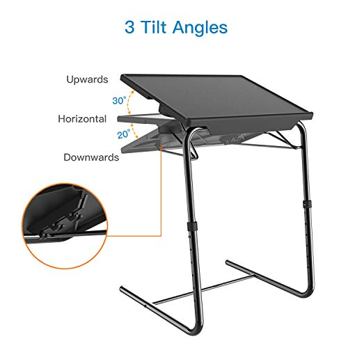 Adjustable TV Tray Table - TV Dinner Tray on Bed & Sofa, Comfortable Folding Table with 5 Height & 3 Tilt Angle Adjustments, Laptop Table with Built-in Cup Holder (1 Pack, Black) by HUANUO (Image #3)
