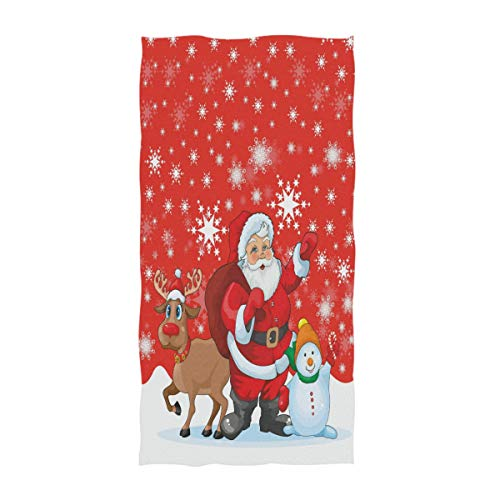 Naanle Christmas Style Funny Santa Reindeer and Snowman with Snowflake Print Guest Towel Soft Eco-Friendly Guest Hand Towels Multipurpose for Bathroom, Hotel, Gym and Spa (16