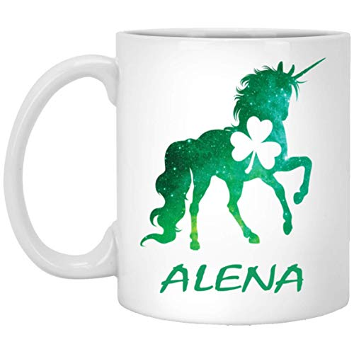 ALENA Lepricorn Shamrock Mug - ALENA Leprechaun Unicorn Shamrock - Unicorn Personalized Custom Name 11 oz White Coffee Cup - St Patricks Day Gift for Men Women Boy Girl]()