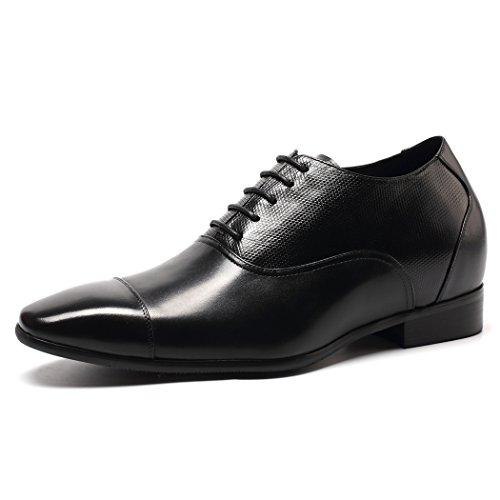CHAMARIPA Zapatos Oxford Hombre Business Negro, para ser 7,5 cm más alto - K4022