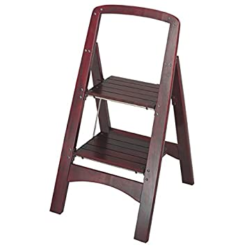 Beautiful Step Stool With 2 Wood Folding And Adds Durability Brown