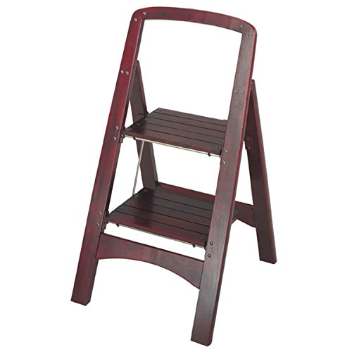 Step Stool with 2-step Wood Folding and Adds Durability, Brown (Cosco Two Step Wood)