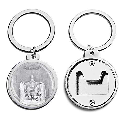 USA Lincoln Memorial Washington Bottle Opener Keychain Mini Bottle Cap Opener Keychain Creative Sketch Crystal Key Chain Travel Souvenirs Metal