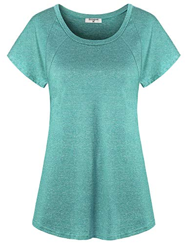 Soogus Workout Shirts Yoga Tops Short Sleeve Athletic T-Shirt Boat Neck Fitness Running Sports Modest Casual Loose Fitting Activewear Soft Lightweight Comfy Hiking Biking Basic Plain Tee Green Large