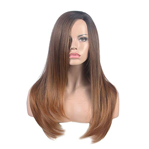 tura Synthetic Wig Long Straight Black To Dark Brown Wig Real Natural For Fashion Women Mono Lace Net Japan High Temperature Fiber ()