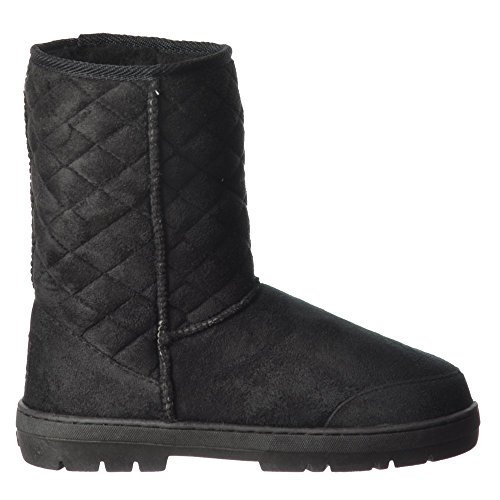 Ella Womens Ladies Midi Quilted Synthetic Fur Lined Flat Ankle Winter Slouch Boot - Chestnut Brown, Brown, Black Negro