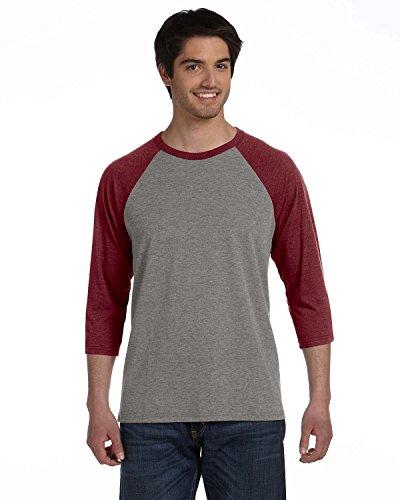 Bella 3/4 Sleeve T-shirt - Bella + Canvas Unisex 3/4-Sleeve Baseball T-Shirt>XS GRY/MAROON TRBLN 3200
