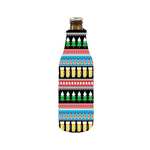 Reindeer and Beers Christmas Zipper Bottle Coolie