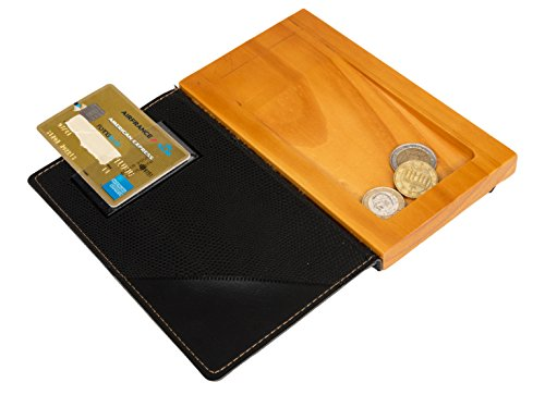 Securit MCDBBPBL Leather and Wood Bill Presenter, Black, 7-1/4-Inch Length