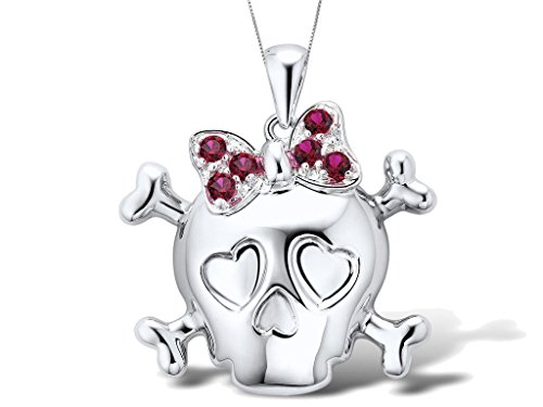 Lab-Created-Ruby-Skull-and-Cross-Bones-Pendant-Necklace-in-Rhodium-Plated-Sterling-Silver-with-Chain