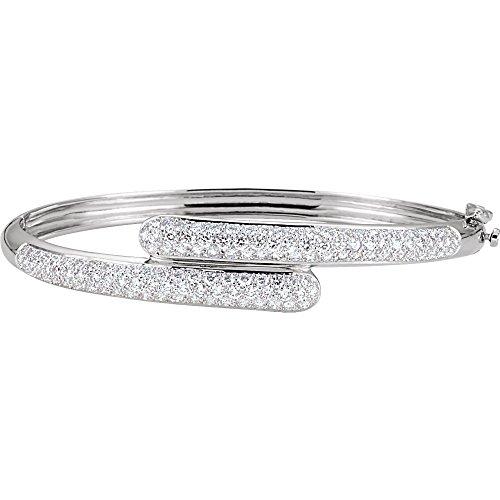 (14k White Gold Diamond Bangle Bracelet 3ct)