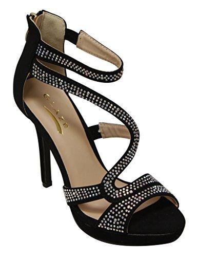 Smalto Blink-2 Piattaforma Donna Peep Toe Decorazione Cinturino Regolabile Alla Caviglia Chiusura Con Zip Sandali Tacco Alto Nero