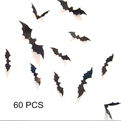 RSSZL Halloween Bat Wall Sticker 60PCS 3D Decorative Bats Party Decor Taste Funny Tiny Pumpkin Lantern Witch Wall Decal Halloween Eve Children's Room Decor (3D Bats)]()