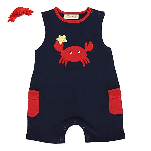 Zubels Baby Boys' Cotton Knit Crab Romper & Matching Crab Rattle, 9 Months, Navy