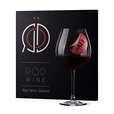 RÖD Wine - Red Wine Glasses - Set of 3 - 22-Ounce - Superior Lead Free Crystal