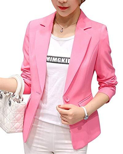 Fit Slim Pink Colori Stlie Button Classica Lunga Manica Eleganti Tailleur Bavero Giaccone Grazioso Cappotto Blazer Giacca Con Donna Da Moda Business Solidi Autunno Primaverile Tasche SxAYXcw