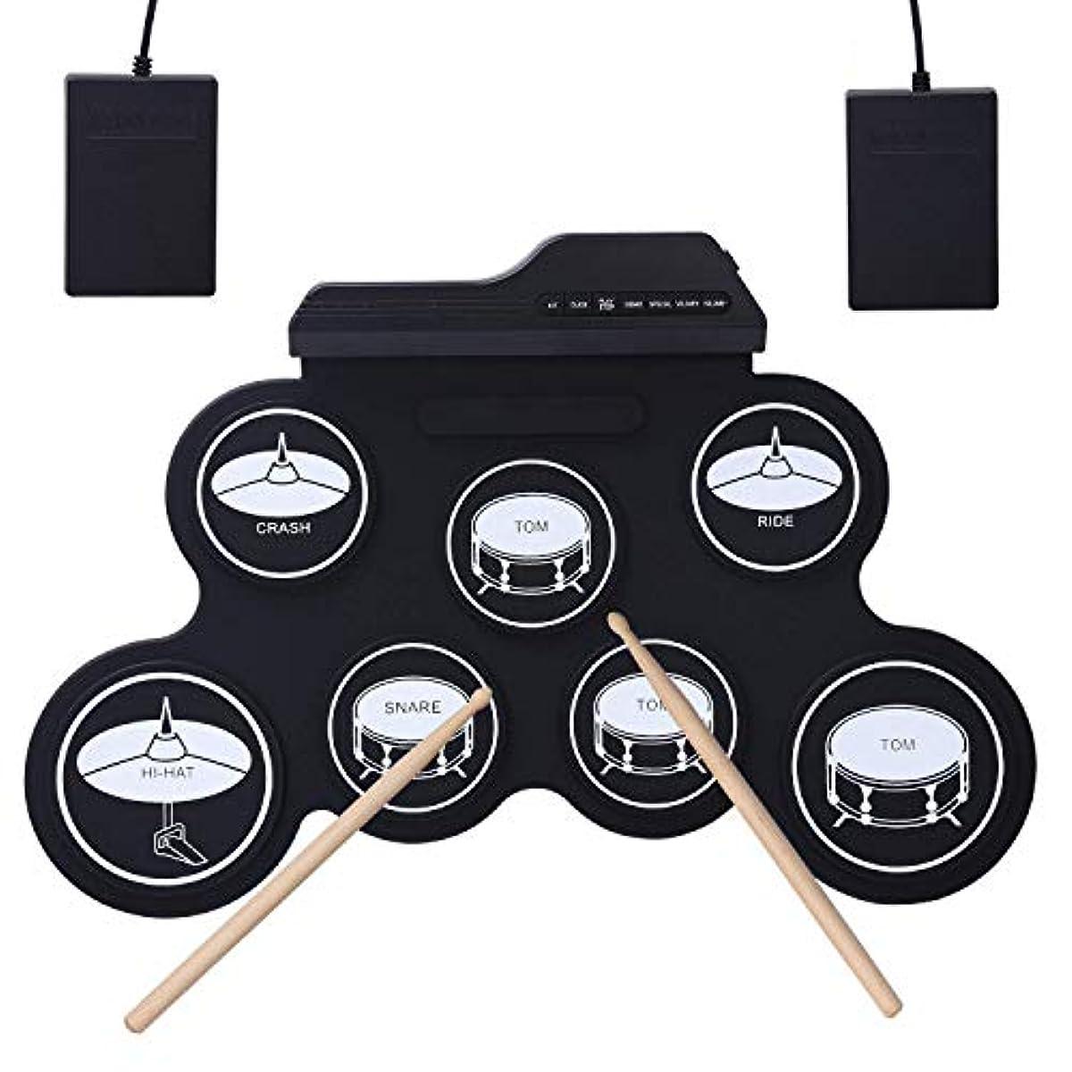 [해외] 롤업 전자 드럼 키트 접는식의 음악 엔터테인먼트 연습2풋 페달과 2드럼 스틱 아이와 드럼 초심자를 위한 포터블 전자 드럼