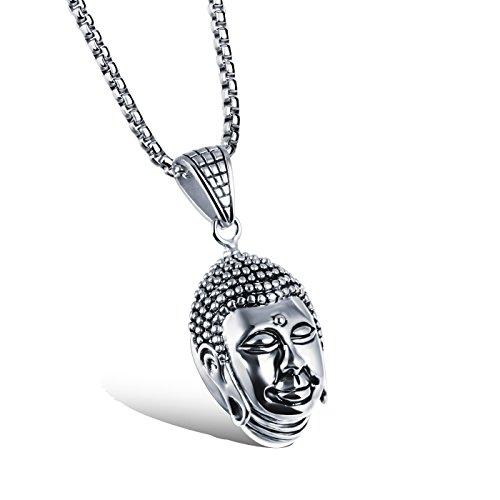 Silver Buddha Pendant - Elove Fashion Jewelry Buddha Head Pendant Stainless Steel Necklace (Silver)